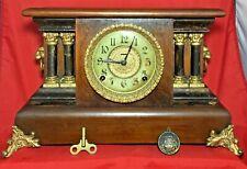 Antique Ingraham Wood Mantle Clock Pendulum Lion Heads Four Columns Works Key