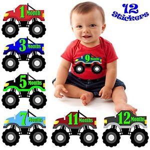 Baby Boy Monthly Milestone Stickers NEW Monster Truck Shower gift Months 1-12