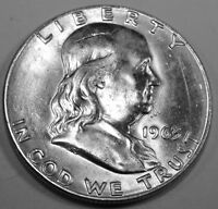 1963 P Franklin Silver Half Dollar  Brilliant White Coin with Great Bell Lines