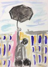 Matt Scalf Man Flying Expressionism Watercolor 9x12 ORIGINAL PAINTING Umbrella