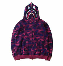 Hot Ape BAPE Men's Shark Jaw Camo Full Zipper Hoodie Sweats Coat Jacket Popular
