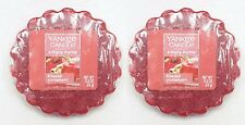 2 Yankee Candle FROSTED CINNAMON Red Wax Tarts Mini Small Candle apprx. 8 hrs ea