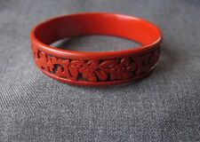 VINTAGE CARVED FLOWERS & LEAVES CINNABAR BRACELET BANGLE