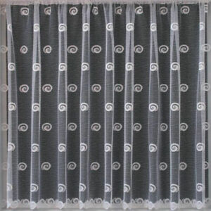 Buxton Modern White Cheap Net Curtain With Swirl Circle Design SOLD BY THE METRE