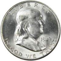 1949 S 50c Franklin Silver Half Dollar US Coin Uncirculated Mint State