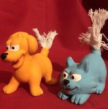 "2 x Dog Toys 3"" Tall Durable Latex Squeaky Orange Dog White Rope Tail Fun Colour"