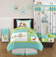Sweet Jojo Designs Turquoise Blue Lime Green Owl Boy Girl Kid Twin Bedding Set