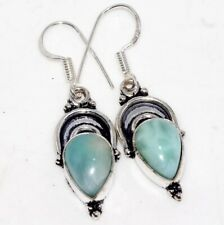 """Natural Larimar 925 Sterling Silver Plated Earrings 1.6"""" GW"""