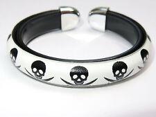Jolly Roger Pirate Skull & Bones White Bangle Bracelet Wristband Freesize Unisex