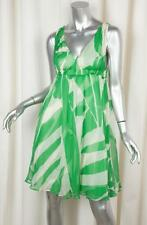 DIANE VON FURSTENBERG Womens Green+Cream Silk Sleeveless Sundress Dress 2
