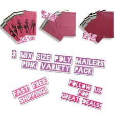 75 Mix Size 6x9 75x105 Amp 10x13 Pink Poly Mailers Variety Pack 25 Ea