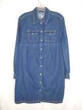 mimi maternity dress small denim long sleeved button up blue  EUC
