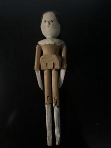 "Vintage Grodnertal 11"" Tall Penny Wooden Doll Dutch Peg Doll  Antique"