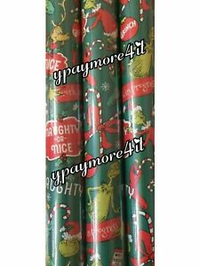 1 Roll Dr Seuss How The Grinch Stole Christmas Gift Wrapping Paper 70 sq ft