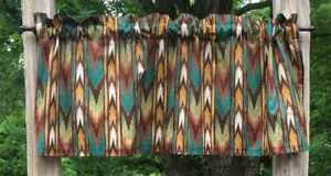Western Cowboy Southwestern Tribal Arrow Stripe Brown Teal Curtain Valance