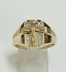10K Solid Yellow Gold Crucifix Men's Ring Size 10