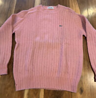VTG IZOD LACOSTE Crew Neck Cable Knit Sweater 100% Wool Pink Size XL
