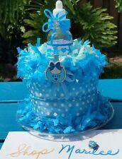 Baby Bottle Baby Shower Diaper Cake Blue 1st Birthday Decoration Cake Topper