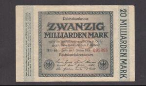20 MILLIARDEN MARK VERY FINE-FINE BANKNOTE FROM GERMANY 1923 PICK-118 RARE