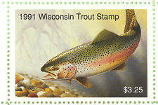 Extremely Rare Wisconsin Trout Stamp Block 1991 Error