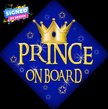 Unpersonalised Prince On Board Child/Baby on Board Car Sign Blue Retro New