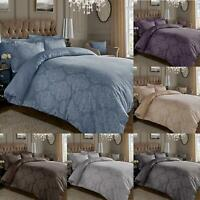 Damask 600 Thread Count Duvet Cover Jacquard Cotton Rich With Oxford Pillowcases