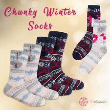 Ladies Womens Chunky Christmas Socks Warm Winter Non Slip Gripper Lounge Xmas
