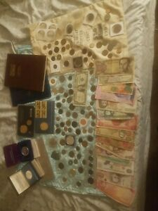 Huge coin lot silver certificate silver coins foreign money junk drawer 1900s