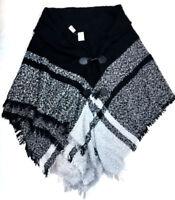 Ganz Black and White Poncho Shawl, One Size