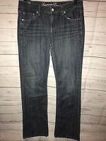 Women's American Eagle Blue Stretch Distressed Jeans Slim Boot Cut Size 8L x 33