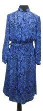 VINTAGE DRESS Size 12 Blue Black Floral L45in Vintage Summer Party Evening Belt