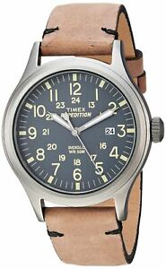 """Timex TW4B01700, Men's """"Expedition"""" Brown Leather Watch, Scout, Indiglo, Date"""
