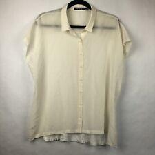 6241f22ee1c5fe Trouve Womens Blouse Size L Silk Blend Sheer Top Hi Low (BL)