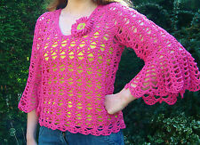 Handmade Pink Crochet Lacy Bell Sleeve Top & Flower Brooch - Quality Cotton