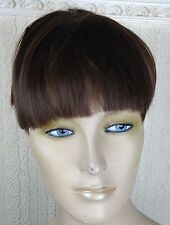 natural brown clip in on fake fringe bangs hair extension hair piece fancy dress