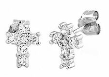 Sterling Silver .925 Cubic Zirconia Cross Stud Earrings