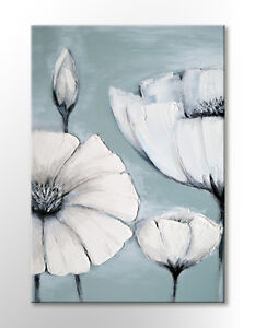 JAPANESE WHITE GREY FLOWER PICTURE PEACEFUL CANVAS WALL ART PRINT DUCK EGG BLUE