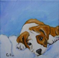 Tableau original de Caillon 15x15 cm chien toile peinture huile chiot beagle
