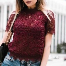 Zara Burgundy Dark Red Semi Sheer Embroidered Lace Top Size 10 12 M