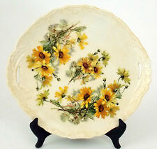 "Antique Porcelain Platter Serving Dish With Hand Painted Daisy Pattern 12"" X 11"""