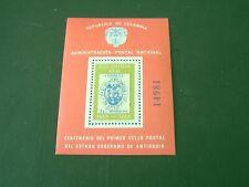 COLOMBIA, SCOTT # 785, SOUVENIR SHEET CENTENARY 1ST STAMP 1968 ANTIOQUIA  MNH