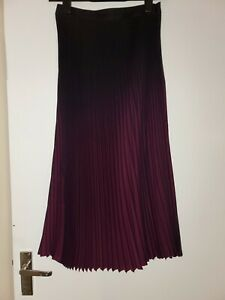 REISS OMBRE MARLIE CONTRAST PLEATED RED BERRY BLACK UK 8 NEW TAGS
