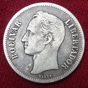 Silver Coin 1935 Venezuela Gram. 10 2 Bolivares Y#23 Dollar