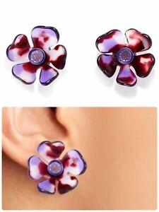Kate Spade petal pushers stud earrings, Purple, NWT $48