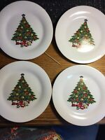 Set of 4 pc Sea Gull CHRISTMAS TREE Salad Desert Plates Angel Top Gold Band 7.5""