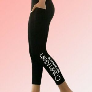 NWT Calvin Klein Performance Bold Logo Black Ankle Leggings High Rise MSRP $49 M