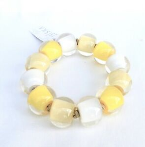 ZSISKA 'Colourful Beads' Collection Lovely 12 bead Yellow and Cream Bracelet