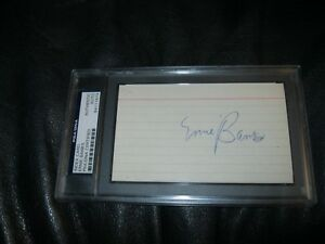 Ernie Banks Autographed Index Card PSA Cert Encapsulated