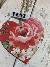 SHABBY CHIC Cath Kidston Decoupage Wood Heart 8cm Kentish Rose Gift Home