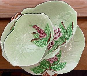 CARLTON WARE 3 Piece Set Leaf Dishes Gum Nut Decoration.  Perfect Condition.